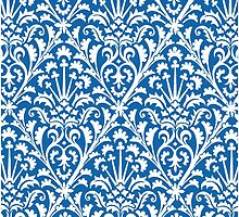 Delft Blue and White Damask Pattern by Greenbaby