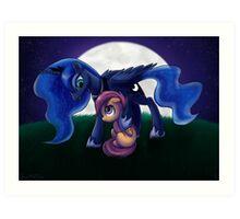 Sleepless - Luna and Scootaloo print/poster Art Print