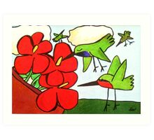 Hummingbirds and Red Flowers Art Print