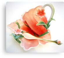 A Porcelain Flower Cup And Saucer  Canvas Print