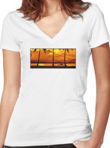 Sunset Sailing Serenity Women's Fitted V-Neck T-Shirt
