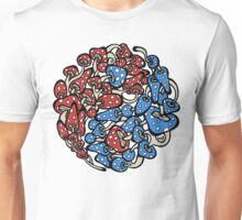yin yang mushrooms (blue red version) Unisex T-Shirt