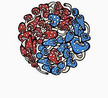 yin yang mushrooms (blue red version) Unisex T-Shirt