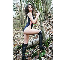 Black Swimsuit and Leather Boots Photographic Print