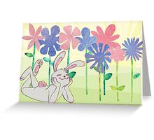 Bunny's Happy Flowers Greeting Card