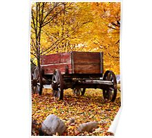 Antique Wagon and autumn colors Poster