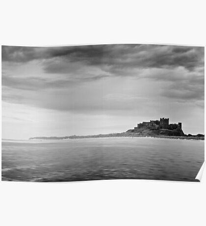 Bamburgh Castle in Black & White Poster