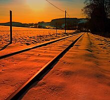 Winter season railroad sunset | landscape photography by Patrick Jobst
