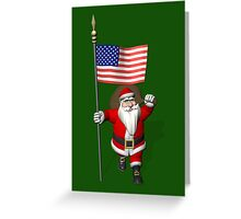 Santa Claus With Flag Of The USA Greeting Card