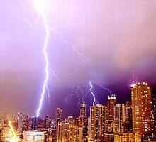 Lightning striking Chicago by gottschalkphoto