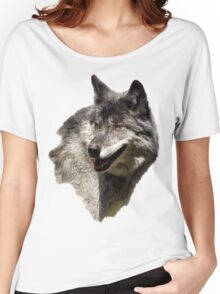 Grey Wolf Wild Animal Portrait Women's Relaxed Fit T-Shirt
