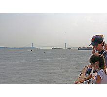 Manhattan Bridge/ Liberty Island View  Photographic Print