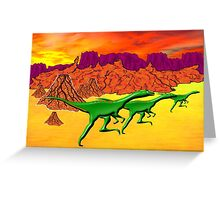 Theropods on the Run Greeting Card