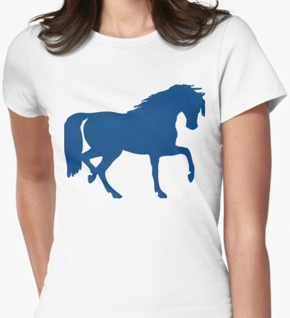 Trotting Horse Silhouette Womens Fitted T-Shirt