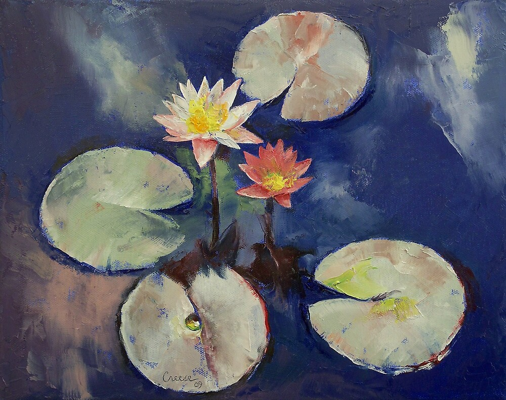 Water Lily Painting by Michael Creese