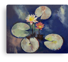 Water Lily Painting Canvas Print