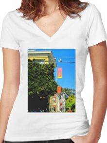 Walking The Wires Women's Fitted V-Neck T-Shirt