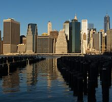 New York City Magic - Lower Manhattan Brilliant Reflections  by Georgia Mizuleva