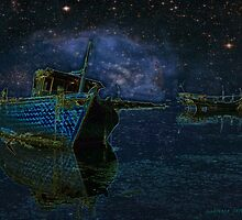 Boats Under Starry Night - Kuwait by Larry3