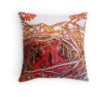 Red Birds Waiting Throw Pillow