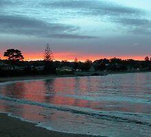 Sunset over Penguin Beach,Tasmania, Australia. by kaysharp