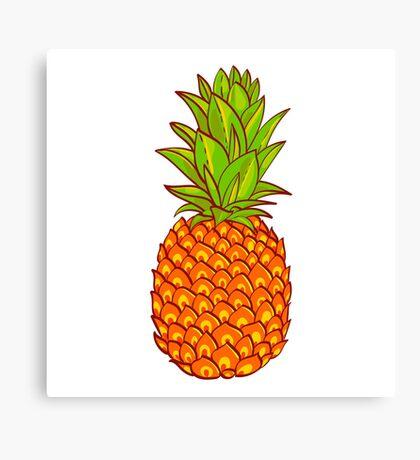 Pineapple. Hand drawn vector. Canvas Print