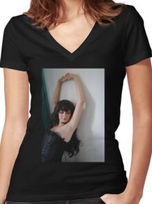 Black Corset 6 Women's Fitted V-Neck T-Shirt