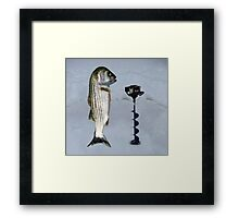 JUST AN AUGER ICE FISHING DAY..STRIPED BASS USING ICE AUGER..PICTURE-PILLOW-TOTE BAG ECT... Framed Print