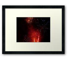 Red & Purple Exploding Fireworks against the Night Sky II. Framed Print