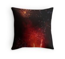 Red & Purple Exploding Fireworks against the Night Sky II. Throw Pillow