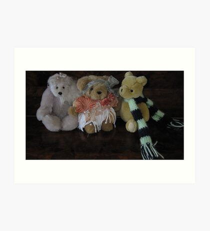 Three Little Teddies. Art Print