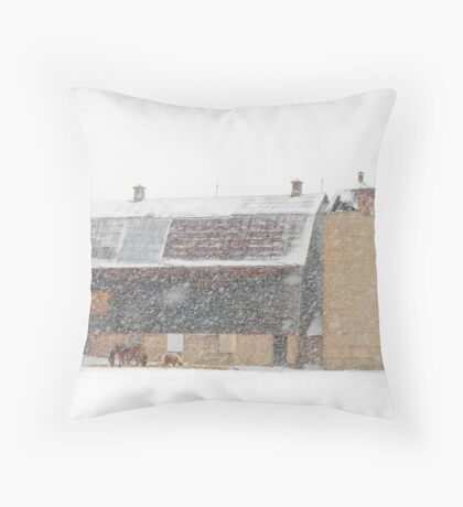 Winter Farm Scene Throw Pillow