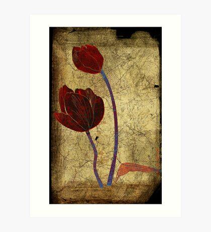 2 tulips Art Print