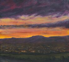 Sunset Over Belfast by Les Sharpe
