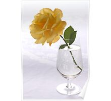 yellow rose in glas Poster