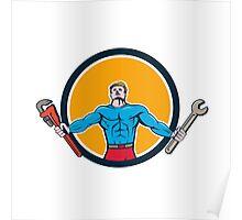 Superhero Handyman Spanner Wrench Circle Cartoon Poster