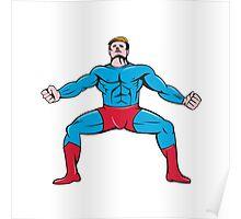 Superhero Squat Front Isolated Cartoon Poster