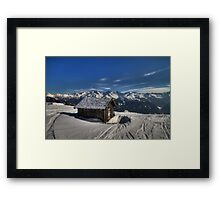 Alpine Hut with a view Framed Print