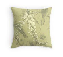 Spirea Arguta in Pale Green Throw Pillow