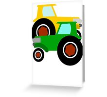RED TRACTOR GREEN TRACTOR Greeting Card