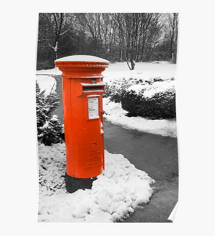 Traditional red British post box in the snow Poster