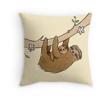 Mama and Baby Sloth Throw Pillow