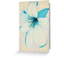 Lilipol Bright Turquoise Blue Lily Flower Painting Greeting Card