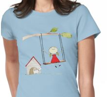 Little girl swinging with pup gazing Womens Fitted T-Shirt
