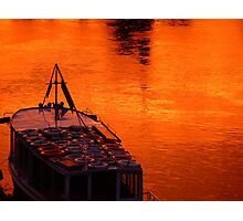 Sunset and boat Photographic Print