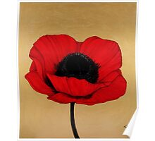 Remember Crimson Red Large Poppy Painting Poster