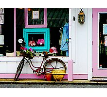 Bicycle by Antique Shop Photographic Print