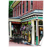 Corner Restaurant with Hanging Plants Poster