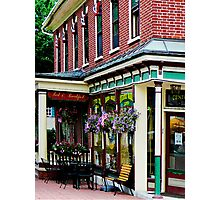 Corner Restaurant with Hanging Plants Photographic Print