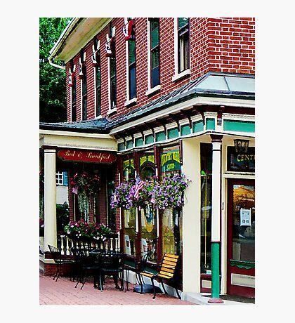 Corner Restaurant with Hanging Plants Photographic Print